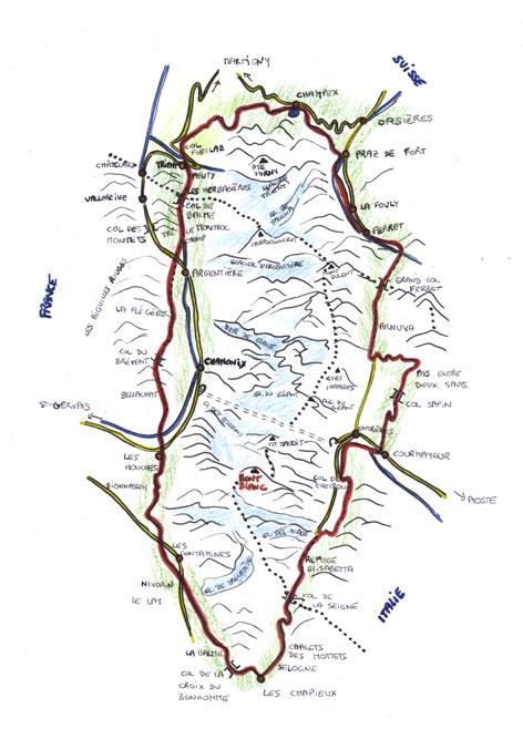 Carte du Tour du Mont-Blanc