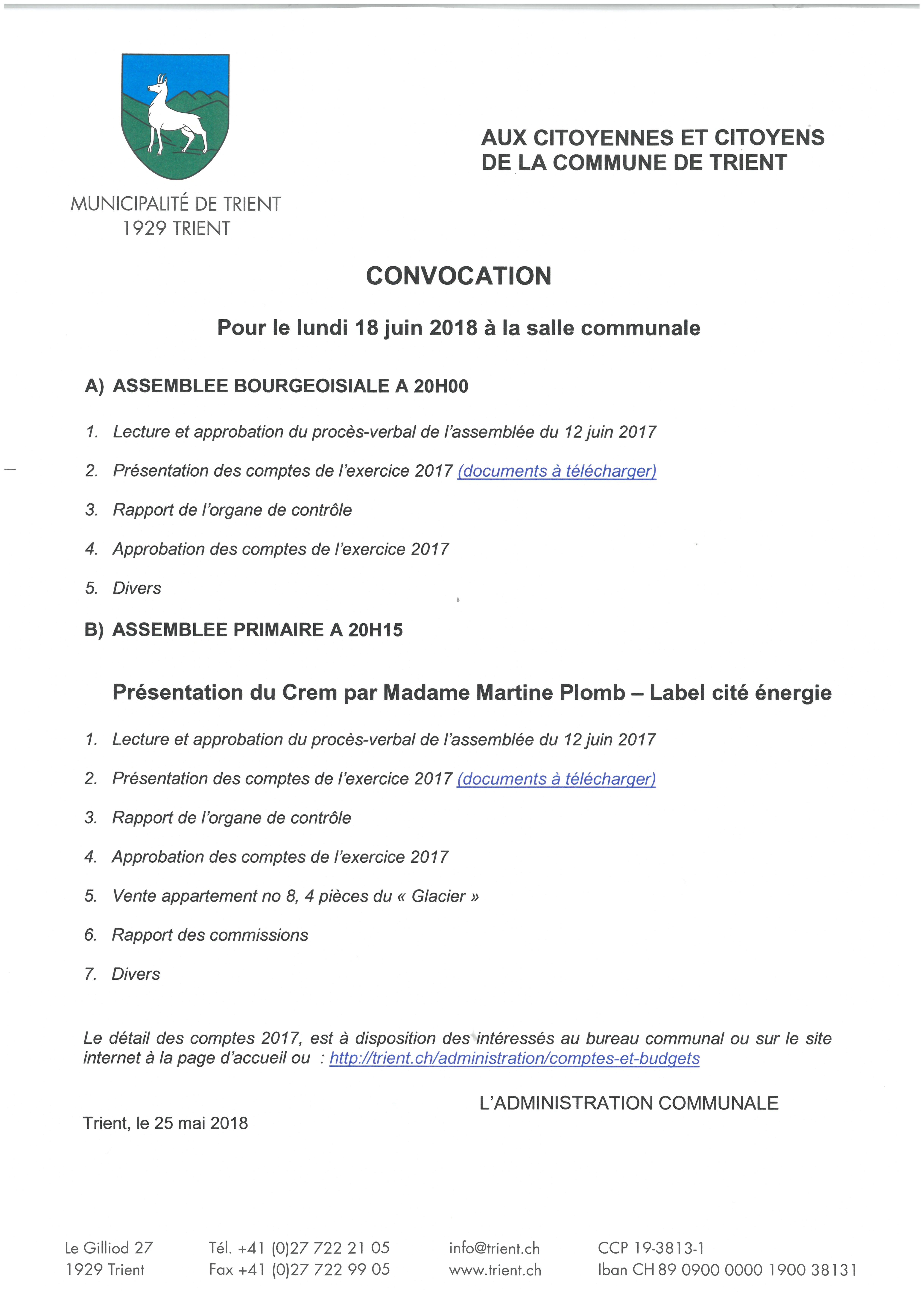 Convocation Assemblées bourgeoisiale et primaire